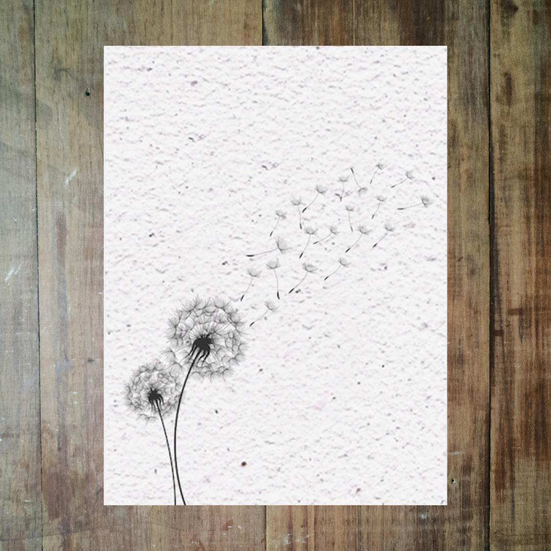 Rouwkaart op groeipapier met bloemzaadjes